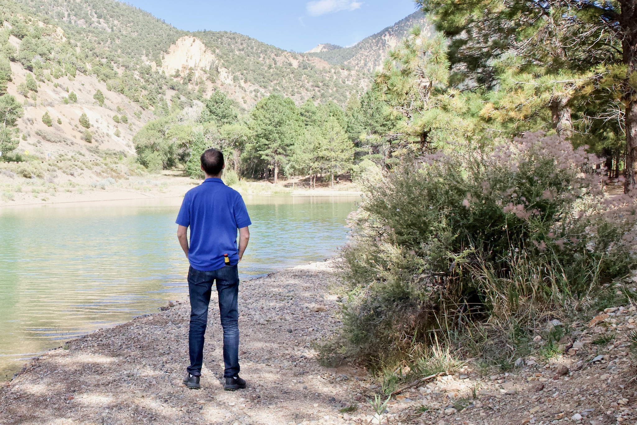 Eagle Lake, Red River, New Mexico. Note the beer in back pocket.